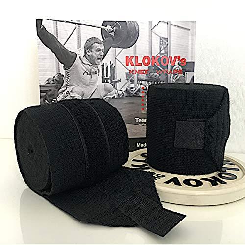 Klokov Knie-Bandagen- Knee Wraps fürs Gewichtheben - Krafttraining, Powerlfting, Strongmen und Crossfit (Black)