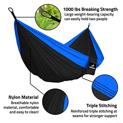 MalloMe Hammock Camping Portable Double Tree Hammocks - Outdoor Indoor 2 Person Beach Accessories - Backpacking Travel Equipment Kids Max 1000 lbs Breaking Capacity - Two Carabiners Free