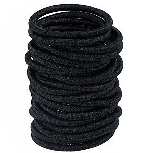 Haargummis ohne Metall – ZWOOS 100 Stück Große Schwarz Stretchbar Haargummi Bands Seil Pferdeschwanz Halter Stirnband für Dicke Schwere und Lockiges Haar