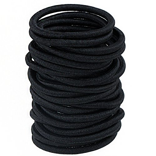 Haargummis ohne Metall – Meersee 100 Stück Große Schwarz Stretchbar Haargummi Bands Seil Pferdeschwanz Halter Stirnband für Dicke Schwere und Lockiges Haar