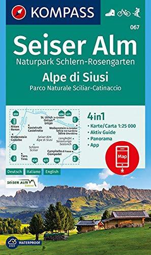 KOMPASS Wanderkarte Seiser Alm, Naturpark Schlern-Rosengarten, Alpe di Siusi: 4in1 Wanderkarte 1:25000 mit Aktiv Guide und Panorama inklusive Karte ... Skitouren. (KOMPASS-Wanderkarten, Band 67)