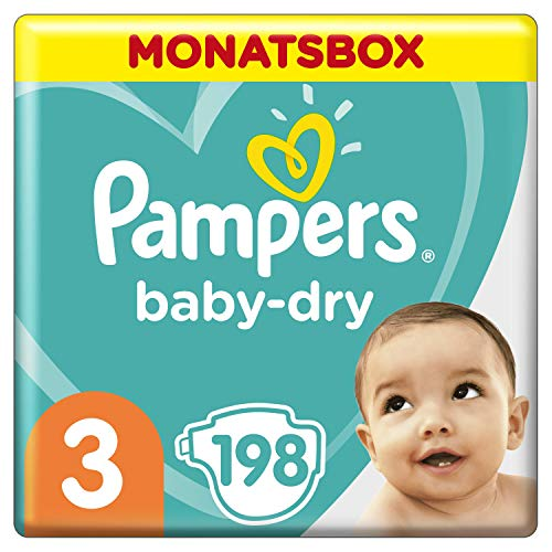 Pampers Baby-Dry Windeln, Gr. 3, 6kg-10kg, Monatsbox (1 x 198 Windeln)