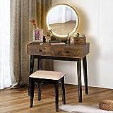 TWING Vanity Table Set,Vanity Set Makeup Dressing Table Dimming Mirror Vanity Desk with 4 Drawers,Brown