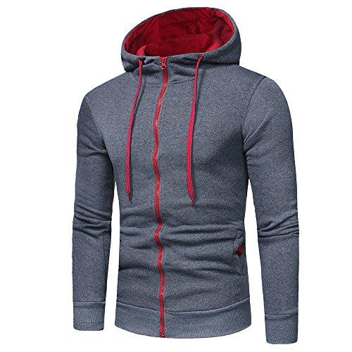 ❁Tefamore Manches Longues Hommes Sweat à Capuche Hauts Outwear Manteau de Veste(Gris foncé,Medium)
