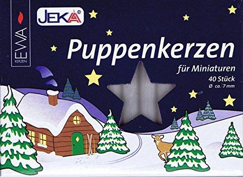 Ebersbacher Wachswaren Puppenkerzen 40 Stück Puppen Kerzen, 7 x 65 mm, Wachs, weiß, 0,7 x 0,7 x 6,5 cm