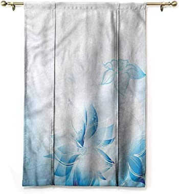 "HouseLookHome Curtain Roman Blinds Pale Blue Bowknot Drapery Valance Panels Hand Drawn Daffodils for Baby's Window Rod Pocket Panel, 42"" W x 72"" L"