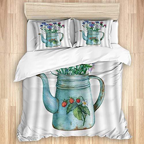 Aliciga Bettwäsche-Set Bettbezug Bettlaken,Vintage Blue Metal Teekanne mit Erdbeeren und Strauß Wilder Blumen,Mikrofaser Betttuch 200x200 mit 2 Kissenbezüge 80x50,Doppel