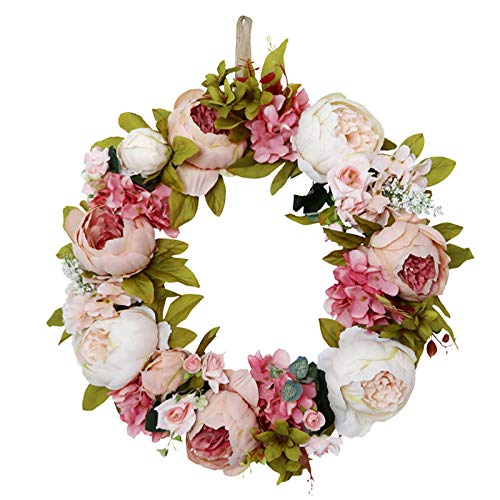 æ— Künstlicher Pfingstrosenblumenkranz, 41,8 cm, Blumenkranz mit grünen Blättern & Rose, dekorativer Frühlingssommer-Girlande, Weinrebenkranz für Haustüre, Hochzeit, Fenster, Wand, Heimdekoration