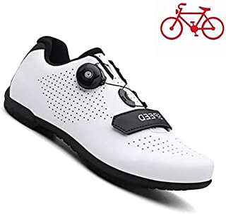 ZMYC Unisex Cycling Shoes MTB Cycling Shoes For Adults Non-slip Abrasion-resistant Outdoor Riding Shoe For Men And Women Breathable Mountain Bike Shoe (Color : White, Size : 40)