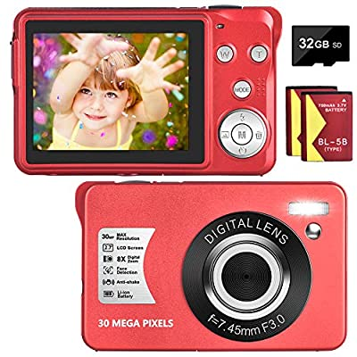 Digital Camera 30MP Camera 1080P Compact Camera 2.7 inch Pocket Camera,8X Digital Zoom Rechargeable Small Digital Cameras for Kids, Students, Teens,Beginners with 32GB SD Card and 2 Batteries from LINNSE