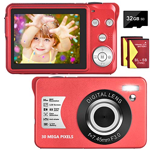 Digital Camera 30MP Camera 1080P Compact Camera 2.7 inch Pocket Camera,8X Digital Zoom Rechargeable Small Digital Cameras for Kids, Students, Teens,Beginners with 32GB SD Card and 2 Batteries