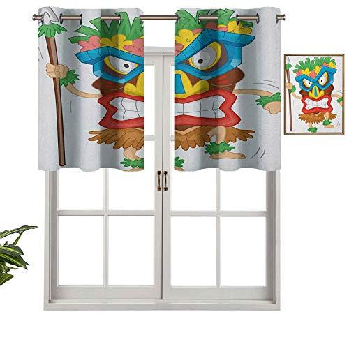 Hiiiman Cortinas trmicas aisladas 100% opacas, con cenefa de hombre nativo con una mscara, ilustracin de dibujos animados, ritual primitivo, juego de 2, 106,7 x 60,9 cm para dormitorio con ojales