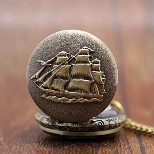 XVCHQIN Reloj de Bolsillo Retro Personalizado con Esfera pequeña Relogio De Bolso Vintage Navio America Constitution Ship, Bronce