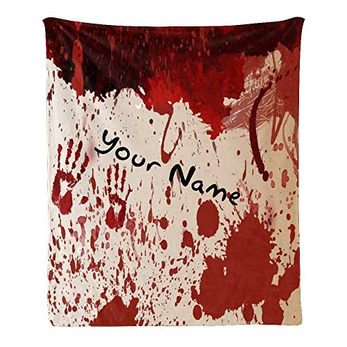 Custom Blanket with Name Text,Personalized Halloween Palm Blood Background Super Soft Fleece Throw Blanket for Couch Sofa Bed (50 X 60 inches)
