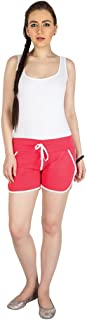 Campus Sutra Red Pro Solid Women's Chino Shorts with Tipping Red
