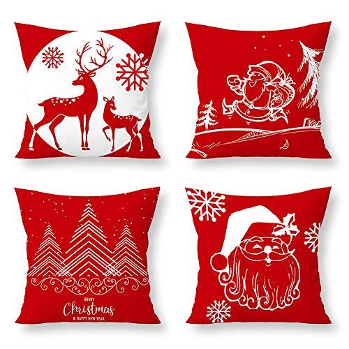 Gukasxi Set de 4 Fundas Navideñas para Cojines Suave Funda de Almohada Cuadrado para Sofá Cama Decoración para Hogar 45x45cm Funda de Almohada Decorativa de Navidad Casa 3