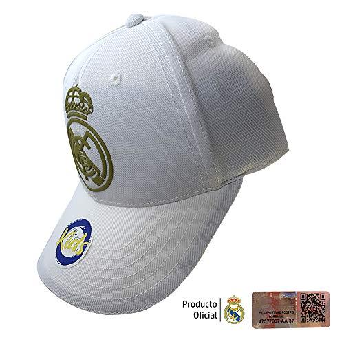 Real Madrid FC RM3GO19P Gorra Infantil Ajustable Real Madrid-Blanco/Oro-2019-2020, Juventud Unisex, Blanco/Oro
