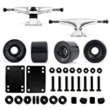 VJ Skateboard Truck and Wheel, 5.0 Skateboard Trucks (Silver) w/Skateboard Crusier Wheel 60mm, Skateboard Bearings, Skateboard Screws, Skateboard Riser Pads (Black)