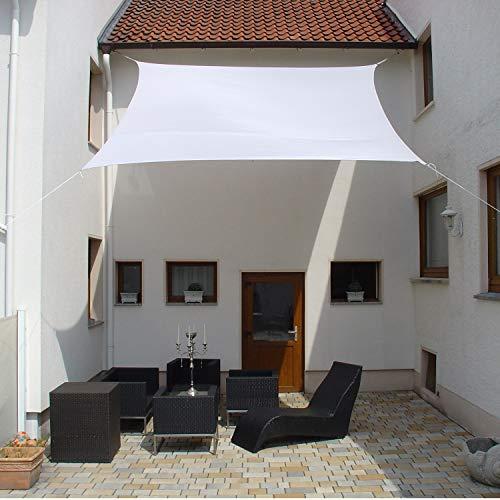 Dekowelten Terrassen Sonnensegel viereck der ExtraKlasse 3x3m Weiss Regenschutz wasserdicht