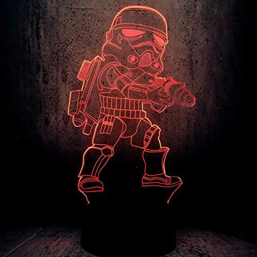 Lámpara de ilusión 3D Luz de noche LED Novedad Star War Cambio de color Dark Vader Anakin Lava El ataque de los clones Cool Boys Los mejores regalos de vacaciones de cumpleaños para niños