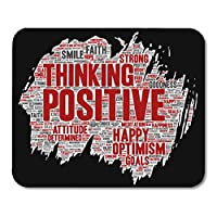 マウスパッドラバーミニ長方形概念ポジティブ思考幸せ強い態度ペイントブラシワードクラウドマウスパッドスムーズゲームノートブックコンピューターアクセサリーバッキング