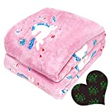 Glow in The Dark Throw Blanket Unicorn Blanket for Girls Cozy Soft Flannel Fleece Blanket Warm Plush Blankets for Couch Bed Living Room Ideal Gift for Kids Teen - 50 x 60 Inches Pink Girls Room Decor