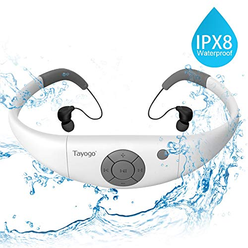 Tayogo Waterproof MP3 Player, IPX8 Swimming Headphones Underwater Headset with Shuffle Feature - White