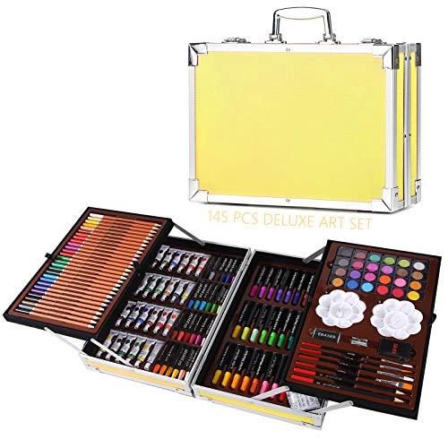 H&B - Set di 145 pezzi, set professionale per pittura e disegno, materiale artistico in scatola portatile in alluminio, kit per artisti, per bambini, ragazzi e adulti, idea regalo