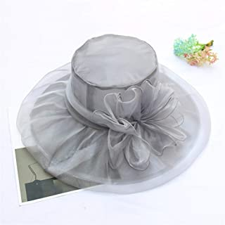 SHENTIANWEI The New Flowers mesh hat Retro Elegant Double Organza hat Foldable Large Brimmed Sun hat Female Summer (Color : Grey, Size : One Size)