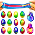 QINGQIU 12 Pack Colorful Slime Eggs Galaxy Putty Toys Easter Eggs for Kids Girls Boys Easter Basket Stuffers Fillers Gifts