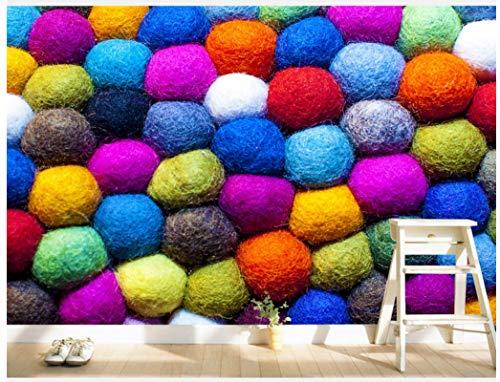 Wxlsl 3D Tapete Ursprüngliche Hintergrundfarbe Der Modernen Haarfarbe Ballgarn-Ballwand Moderner Warmer Haupthintergrundwand-350Cmx256Cm