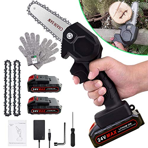 Electric Mini Chainsaw with 2 Batteries & 2 chains, 4-Inch Rechargeable...