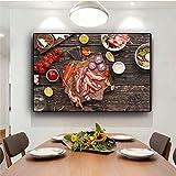 IHlXH Légumes Cuisine Cuisine Toile Dessin Carte scandinave Affiche et Impression Murale Art Photo Salon A1 40x60 sans Cadre
