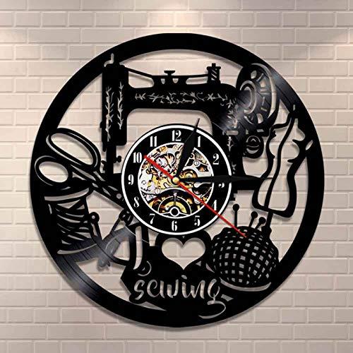 LIMN Reloj de Pared de Arte de Costura Vintage, máquina de Coser, Punto de Cruz, Reloj de Pared con Registro de Vinilo, Acolchado Retro, decoración del hogar, Regalo de mamá