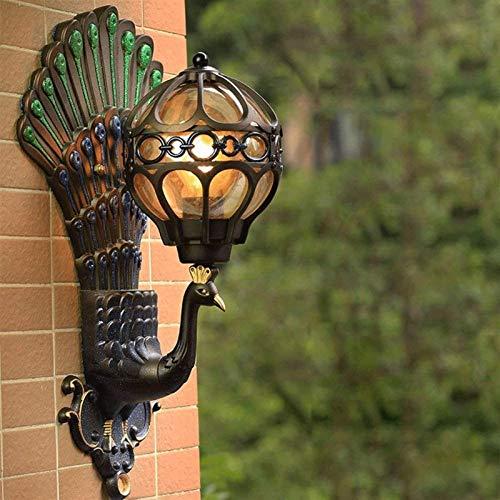 Iluminación para exteriores Lámpara de pared Lámpara de pared para exteriores Impermeable, Lámpara de pared con forma de pavo real con personalidad de lujo europeo, Puerta de villa retro ameri