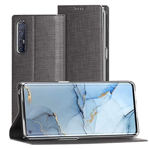 FUNMAX+ Oppo Find X2 Neo 5G Hülle, PU Leder Handyhülle mit Kartenfach, Schutzhülle Hülle Tasche Flip Cover Standfunktion Stoßfest Brieftasche für Find X2 Neo (Schwarz)