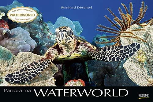 Waterworld 2021: Großer Foto-Wandkalender mit unterwasser-Bildern von Fischen. Edler schwarzer Hintergrund. PhotoArt Panorama Querformat: 58x39 cm.