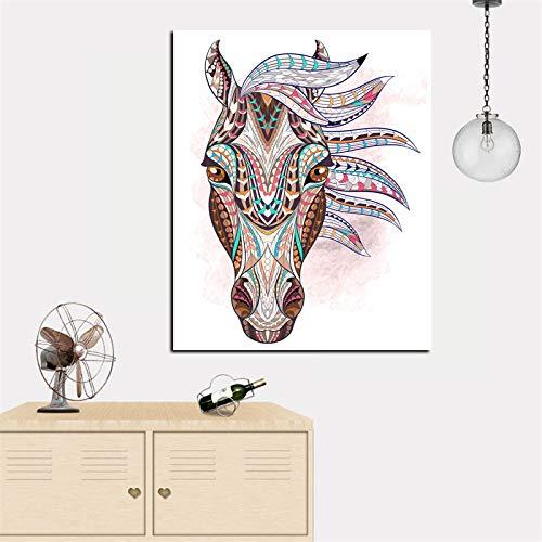 N / A Stampa HD Tatuaggio Testa di Cavallo Indiano Pittura a Olio su Tela Immagine Moderna di Arte della Parete per Living Room Decor Frameless A 40x50CM