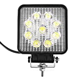 Foco de trabajo 2 unidades, proyector cuadrado de luz de mancha 12 V, 24 V, 27 W, LED para camión todoterreno