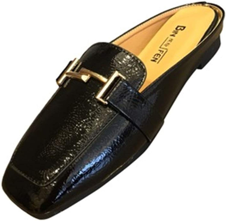 Cdon Women Easy Slide Mule Buckle Penny Slip-On Backless Loafer shoes
