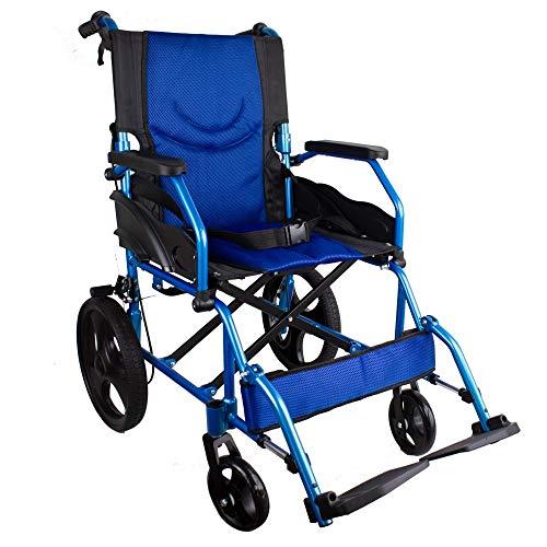 Mobiclinic, Modelo Pirámide, Silla de ruedas ortopédica de tránsito, para minuválidos y ancianos, plegable, aluminio, freno en manetas, reposapiés, reposabrazos, ligera, azul, asiento 46 cm ✅