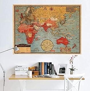 Vintage Kraft Paper Poster World Map Wallpaper Bedroom Living Room Wallpaper Colored World Map Wall Sticker Office TV Back...