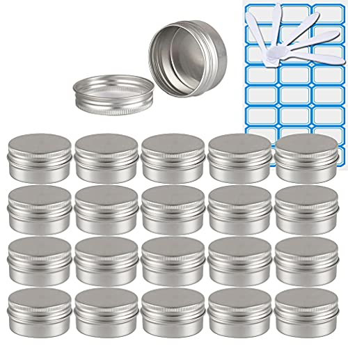 ZEOABSY50 Piezas Tarros de Aluminio con Tapa Rosca 30ml,Plata Tarros de Aluminio Vacíos Redondo para Contenedor De Cosméticos CremasCaja de almacenaje con5 Espátula y 2Etiqueta