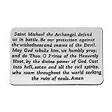 FEELMEM Religious Gift St. Michael The Archangel Prayer Wallet Card Saint St Michael The Archangel Prayer Protect Us Metal Wallet Card Insert Military Jewelry Gift Faith Jewelry (Wallet Card)