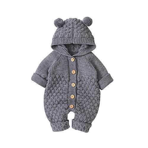 VICROAD Baby Strampler Gestrickter Overall Babykleidung Kapuze mit Süßen Ohren für Jungen Mädchen Neugeborene, Grau, 3-6 Monate (Herstellergröße: 66)