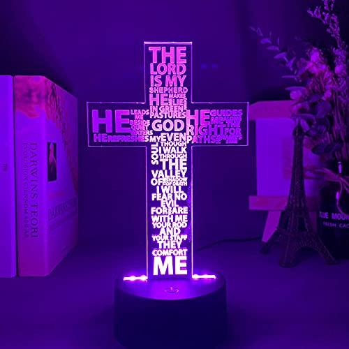 Ilusão óptica 3D Poema do Salmo da Bíblia Sagrada Cruz cristã Luz noturna de LED para decoração de igreja, presente cristãos, quarto, abajur de mesa, cruz, Jesus 16 cores, presente para crianças e meninas TIEHENG