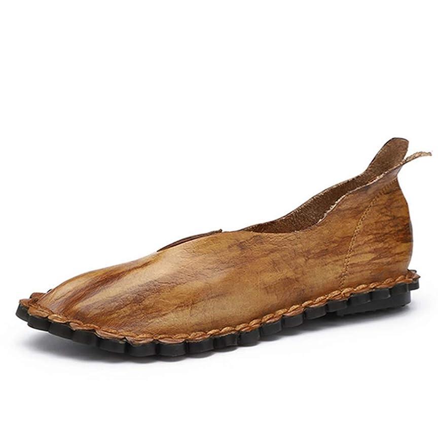 腐敗したやがて前進[リンゼ] 手作リ靴 春夏 ポインテッド モカシン 柔らかい底 レザーシューズ シングルシューズ レーディス靴 ローファー 痛くない ソフト 着心地が良い イエロー 耐摩耗性 22.5-25.0cm 履きやすい 軽量 旅行 デイリー