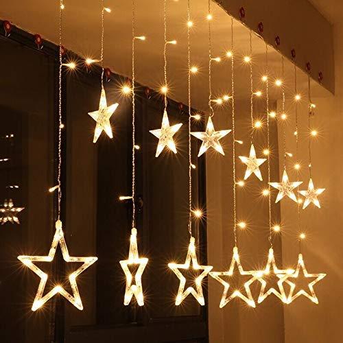DressU Navidad 2M 6.5 pies del LED Cortina de la Secuencia de Las Luces de Navidad Garland Estrella 138LEDs Interior 8 Modos for la decoración del hogar 220V Festivales (Emitting Color : Warm White)