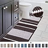 Striped Shag Chenille Bathroom Rug Toilet Sets and Shaggy Water-Absorbent Non Slip Machine Washable Soft Microfiber Ombre Bath Contour Mat (Chocolate,32' 20'/20' 20' U-Shaped)