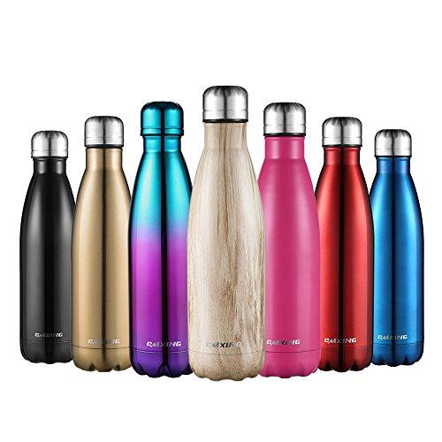 cmxing Doppelwandige Thermosflasche 500 mL mit Tasche BPA-Frei Edelstahl Trinkflasche Vakuum Isolierflasche Sportflasche für Outdoor-Sport Camping Mountainbike (Holz Farbe, 500 mL)